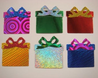 15 Christmas Gift Box die cuts with bows-shiny holographic for cards/toppers cardmaking scrapbooking craft project
