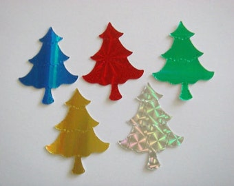 40 Shiny Christmas Tree die cuts for cards toppers holographic card cardmaking scrapbooking craft projects