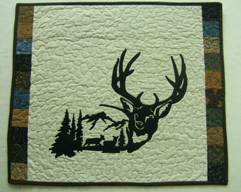 Quilted Wall Hanging, Deer Wall Hanging, Outdoor Wall Hanging, Deer Wall Art, Gifts for the Hunter, Outdoor Themed Wall Art, Deer Art