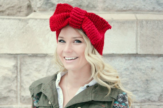 Oversized Bow Headband Ear Warmer Red Head Wrap Garter Stitch Valentine's