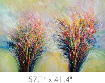 """57.1 """" x 41.4 """". Original Large Abstract Painting XL Acrylic on Canvas Modern Art. Abstrakte Malerei. UNSTRETCHED! Artist Peter Nottrott."""