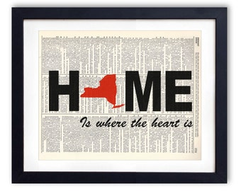HOME New York Upcycled Dictionary Art Print Repurposed Book Print Recycled Antique Dictionary Page - Buy 2 Get 1 FREE
