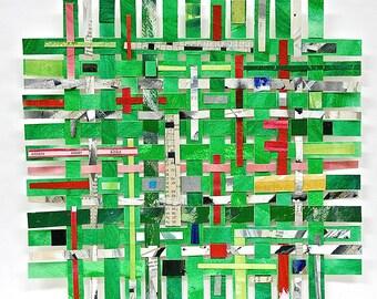 Green Paper Weaving Art-  Handwoven- Mixed Media Watercolor, Collage- Woven Paper- 10x11- Geometric, Modern- Bright Art
