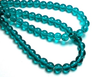 6mm Viridian Czech Beads,Beads, Teal Beads, Cyan Beads, Green Beads, 6mm Round Beads, 6mm Glass Beads, 6mm Czech Beads T-010B
