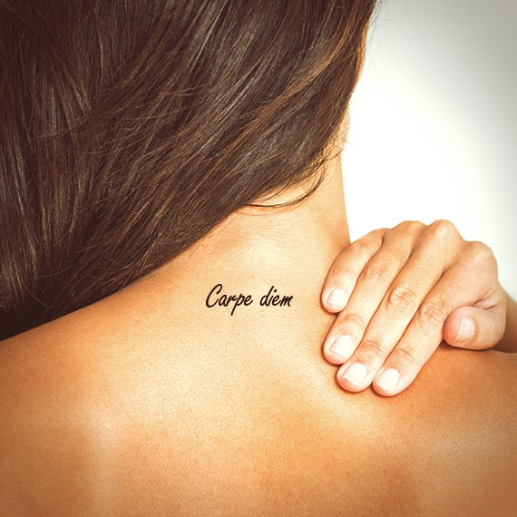 Carpe diem tattoo typography tattoo temporary tattoo for Carpe diem tattoos