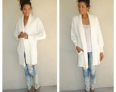 Items similar to vintage oversized ivory sweater coat. size large ...