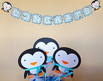 penguin centerpiece sticks birth day party decoration baby shower