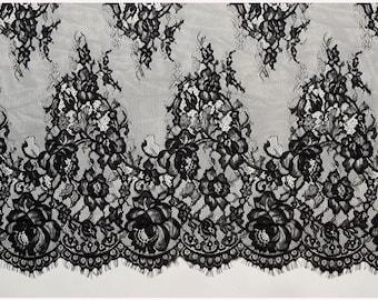 "25""*3 Yards Delicate Ornamental black Eyelash Lace Trim Width 25''(65cm) white wedding lace fabric"