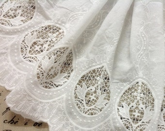 4.2ft Cotton ivory Lace Fabric in White, Retro Hollowed Flower Lace Embroidery Fabric Eyelet Lace- Fabric by yard