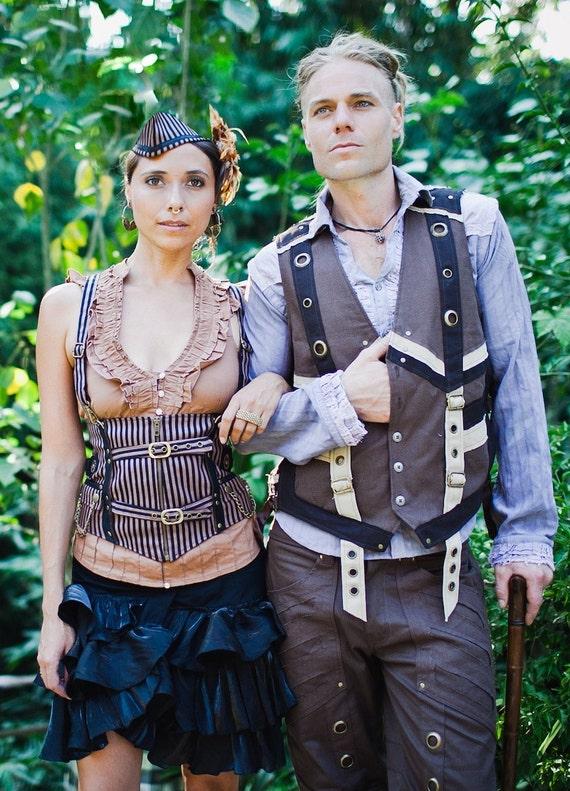MENS STEAMPUNK Vest - Medium, Brown Vest, Hipster Fancy Dress, Mens Vest, Tribal, Secret Pocket, Caballero Vest by KelseysCreationsShop