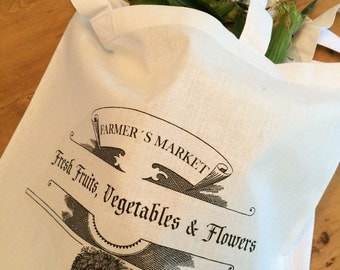 1 Farmers Market Grocery Tote Bag - Vintage Design - 15x16