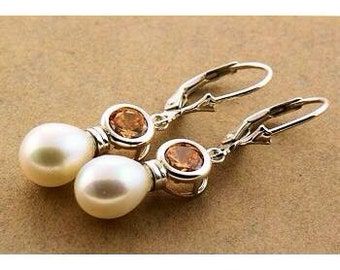NEW PRICE!! Sterling Silver CZ and Pearl Dangle Earrings