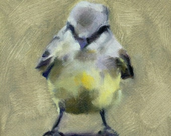 Bird oil painting - kingbird - small painting - daily painting - Pamela Poll