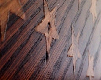 Reclaimed Rustic Stained American Flag made from Oak Barn Wood
