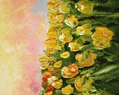 Floral Abstract Garden Painting flowers Yellow  Sunshine Smiles Fine Art 25x25cm Canvas Palette Knife Tulips Artwork By G. Tal