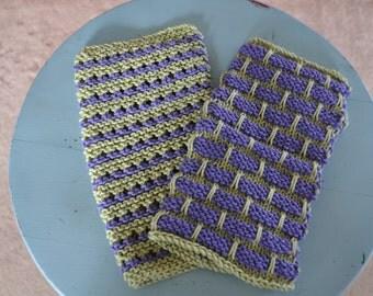 Handknit Cotton Dishcloth Knit Picks Dishie Aster & Honeydew ~ Set of 2