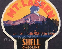 Shell Gasoline 1920s Travel Decal Magnet for MT LASSEN. Accurate reproduction & hand cut in shape as designed. Nice Travel Decal Art