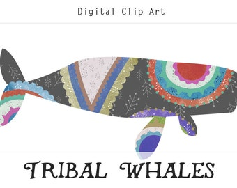 Tribal Whales Printable Digital Collage Sheet, Instant Digital Download, Whale Printable, Whale Download, Whale Clipart, Nautical Clip Art