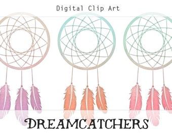 Watercolor Dreamcatchers Art Instant Digital Download for Scrapbooking, Journaling, and more! Dreamcatcher Download, Dreamcatcher Clipart.