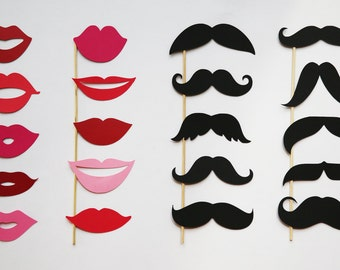 Photo Booth Prop Holiday Photo Booth Props Set of 20 Lips and Mustaches