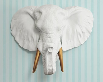 The Savannah in White + Bronze Tusk- Faux Elephant Head - Fauxidermy Ceramic Fake Taxidermy Decorative Animal Resin Plastic Wall Mount Decor
