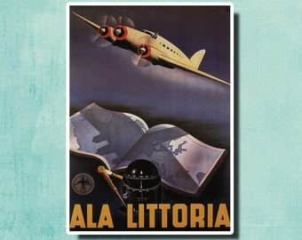 Ala Littoria - Italian Airline - 1935 - Vintage Airline Poster Italy SG4553