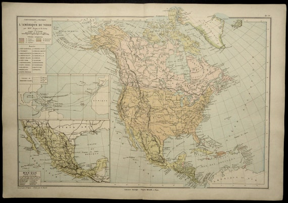 Items Similar To Texas Antique Map: Items Similar To 1890 Antique MAP Of NORTH AMERICA. United