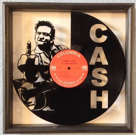 "Johnny Cash ""At San Quentin"" cut vinyl LP record framed ..."