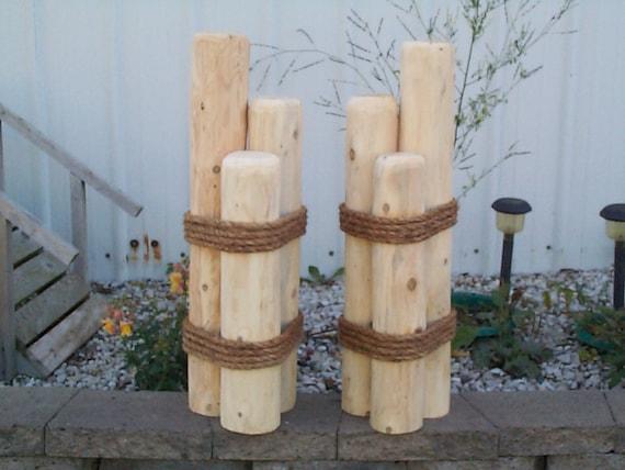 2 Wood Pilings Nautical Piers Lawn Or Dock Ornaments Cedar