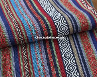Tribal Fabric Ethnic Fabric Aztec Fabric Native Fabric BOHO Bohemian Style Color Stripe Fabric Elegant Blue-Half Yard