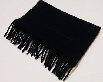 Mila Schon Wool Scarf Dark Blue Solid Neck Wrap BA