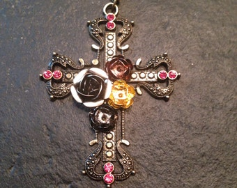 Antiqued bronze long chain cross necklace