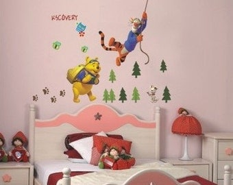 Pooh and Tigger go for a hike - AW711, Winnie the pooh wall sticker, wall decal, nursery wall sticker, baby room wall sticker, kids wall art