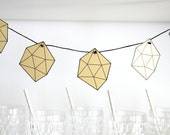 Geometric Paper Garland in Gold and Black Gems