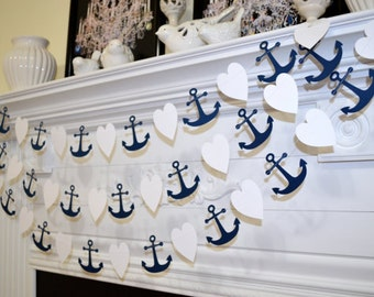 Navy blue and white heart and anchors paper garland for Anchor decoration runescape