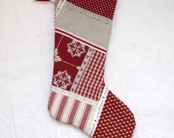 Burgundy patchwork stocking