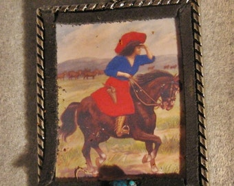 Western Cowgirl Altered Art Antique Image Christmas Ornament Turquoise Watching over the Herd