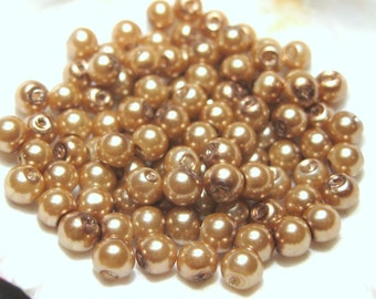 100pcs Tan Brown Glass pearl Beads 4mm Round