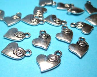 Small Antique Silver Heart Charms Pendants 14mm