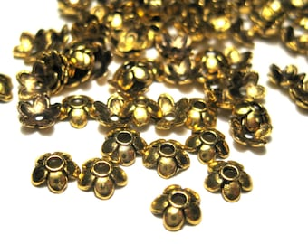 100pcs Antique Gold Plated Flower Bead Caps 6mm