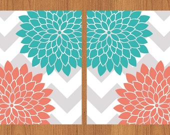 Floral Flower Burst Coral Teal Grey Chevron Wall Art Nursery Bedroom Bathroom Living Room Kitchen Print 8X10 Set of 2 (133)