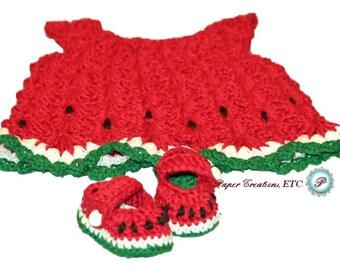 Crochet Watermelon Baby Girl set