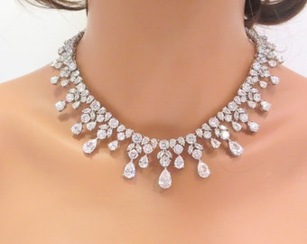 Bridal statement necklace and earrings, Wedding necklace set, Wedding jewelry set, Crystal necklace, Cubic zirconia necklace and earrings