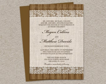 Rustic Wedding Invitation With Burlap And Lace Design, DIY Printable Rustic Burlap And Lace Wedding Invitations, Lace Wedding Invitations