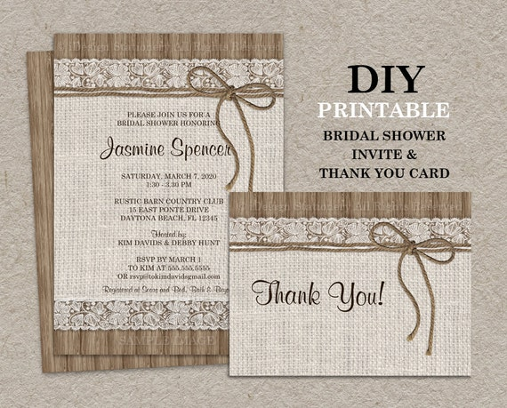 Postcard Wedding Shower Invitations: Rustic Bridal Shower Invitation Set With Thank You Card DIY