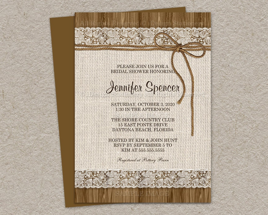 rustic bridal shower invitation burlap by idesignstationery
