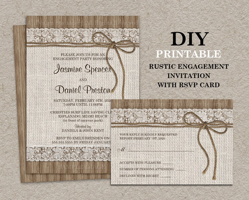 Wedding Invitations With Rsvp Cards Included: Rustic Engagement Party Invitation With RSVP Card DIY
