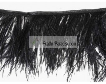2 Plys White/ Black Ostrich Feather Trims/Fringe 10 Yards (GA,USA)