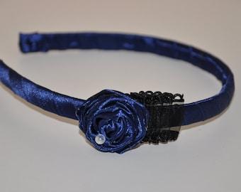 Navy Blue Satin Flower Headband