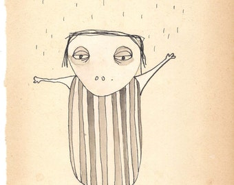 Original drawing on vintage paper of a person with a strepenpak.